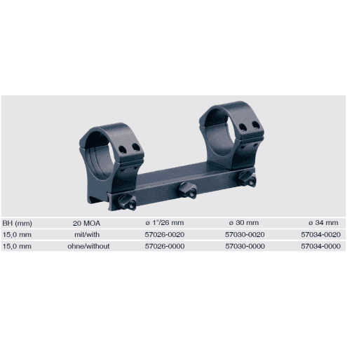 Recknagel One-piece scope mount for Picatinny, 34mm, BH 15mm